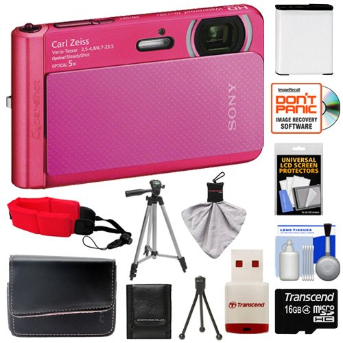 Sony Cyber-Shot Dsc-Tx30 Shock & Waterproof Digital Camera (Pink) With 16Gb Card + Battery + Case + Floating Strap + Tripod + Accessory Kit