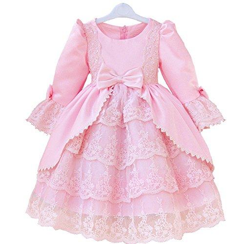 (ジェイケーツー)JK2 ガール ドレス 子供 エレガント キッズ フォーマル 長袖 パーティー ロングスリーブ AT-118 (110, ピンク)