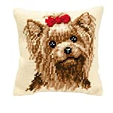 Vervaco Yorkshire Terrier Cross Stitch Cushion Multi Colour