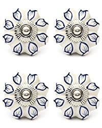 Knobs & Hooks FBK-316 Ceramic Cabinet Knob; White+Blue; (Set of 4 pieces)