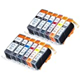 12 Pack Compatible Canon CLI-226 PGI-225 2 Small Black 2 Cyan 2 Gray 2 Magenta 2 Yellow 2 Big Black For Use With...