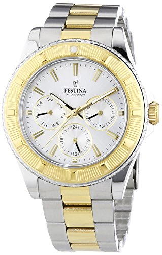 Festina Unisex Quartz Watch with Silver Dial Analogue Display and Two Tone Stainless Steel Bracelet F16691/1