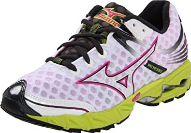 Mizuno Women's Wave Precision 12 Running,White/Electric Pink/Wild Lime,8.5 B US