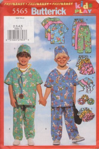 "Butterick Fast & Easy Pattern 5565 for Kids Play Top, Shorts, Pants, Hat and Ponytail Holder. Sizes 2,3,4,5. by ""Butterick Company, Inc."""