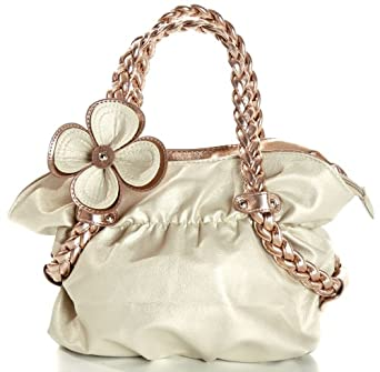 MG Collection CANDICE Metallic Gold / Copper Flower Weaved Handle Hobo Handbag