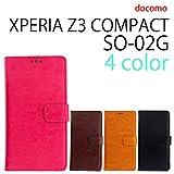 『保護シール付き』 SO-02G XPERIA Z3 compact 用 本革風 手帳型ケース ピンク [ XPERIAZ3COMPACT エクスペリアZ3コンパクト SO-02G ケース カバー SO-02G SO-02G ]