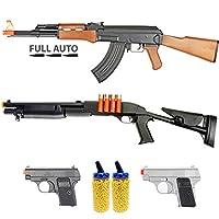 BBTac Airsoft Gun Package - Desert Collection of 5 Airsoft Guns - Full Auto AK AEG Electric Airsoft Rifle, CQB Shotgun, Dual Mini Pistols, 4000 BB Pellets, Great for Starter Pack Game Play by BBTac