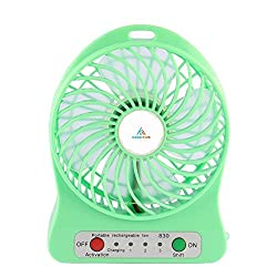 KoldFireTM Powerful Portable Wireless Rechargeable Mini USB Fan Micro USB Charging Port (Like Mobile) 2200 mAh Lithium-ion Battery Inside 3 Speed Compact Cool Premium Quality Durable Best for Desktop Use Lamp Gadget Green
