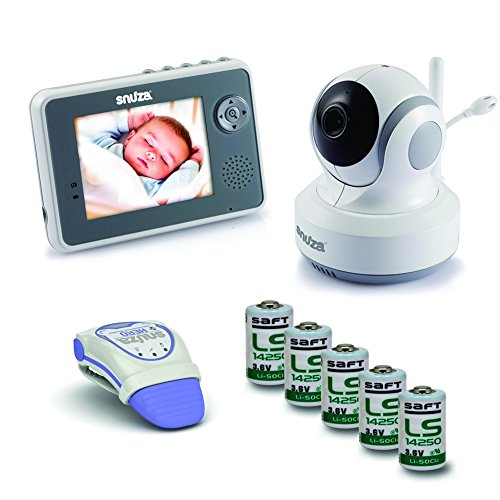 Snuza Trio Plus Baby Monitor System - Movement Tracking, Room Temperature Display, 2-Way Audio, and Live Video Feed - Includes Snuza Video and Snuza Hero Units + 5 Extra Batteries