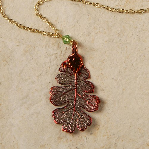 Necklace - Oak Leaf, Iridescent - Made with Real Leaf!