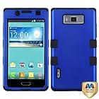 MyBat LG US730/Splendor /Venice /L86c/Optimus Showtime TUFF Hybrid Phone Protector Cover - Retail Packaging - Titanium Dark Blue/Black
