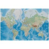 World map photo wallpaper - relief like map mural - XXL world map miller projection wall decoration 82.7 Inch x 55 Inch