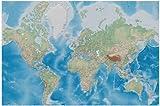 Fototapete Weltkarte Wandbild Dekoration Miller Projection im plastischen Relieffdesign Erde