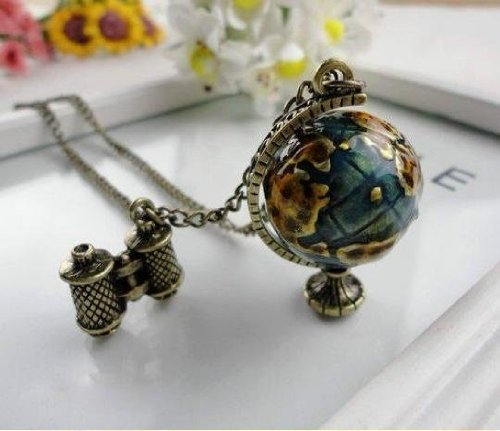 Popular Fashion N159 New Retro Europe Style Vintage Long Necklace Necklaces For Women Vivid Globe Telescope Pendant Free B5.80 By Eva Fs.