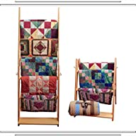 The LadderRack 2-in-1 Quilt Display Rack (5 Rung/30″ Model/Golden Pecan)