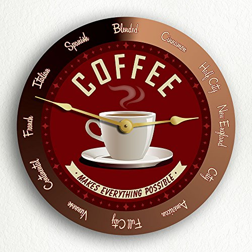 """Coffee Makes Everything Possible Roasts Retro Style 12"""" Silent Wall Clock"""