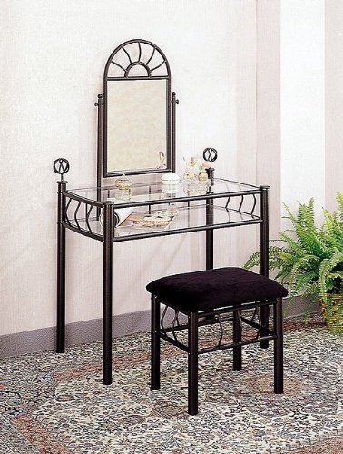 Black Wrought Iron Vanity Table Set Make Up Mirror