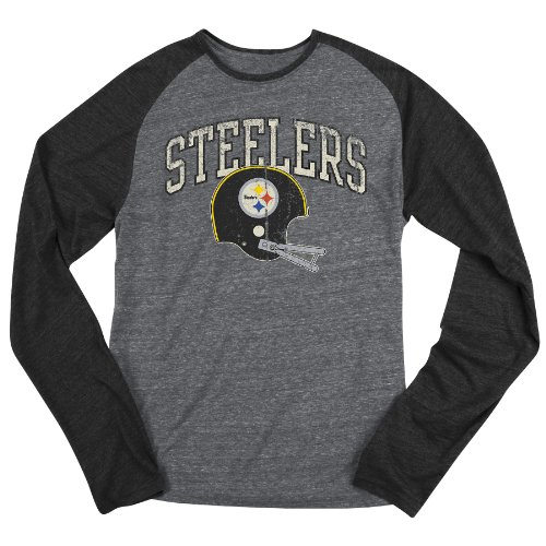 NFL Men's Pittsburgh Steelers Buttonhook L/S Tri-Blend Raglan - B232AFFD7 (GreyBlack, X-Large)