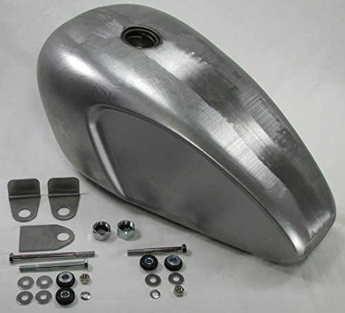 Scalloped Legacy Triumph Style Custom Build Gas Tank with Mounting KIT - Steel - 3.8 Gallon Capacity - Motorcycle Chopper Bobber Cafe Racer Fuel Cell Petrol (Cafe Tank compare prices)