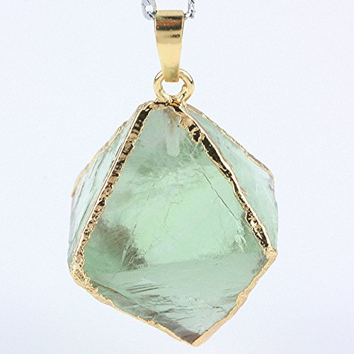 Aoneitem Rhombus Gemstone Charms Pendant Bead Choose From Purple Amethyst or Green Fluorite (Green)