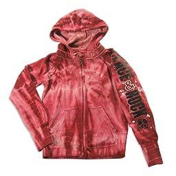 Vintage Havana - Big Girls\' Long Sleeve Tie Dye Peace And Rock Sweatshirt Jacket, Burgundy 23193-10
