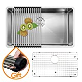 VAPSINT Commercial 30 Inch 18 Gauge 10 Inch Deep Handmade Drop In Undermount Single Bowl Stainless Steel Kitchen Sink, Sink Including Dish Drying Rack and Dish Grid