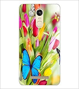 PrintDhaba Flowers and Butterfly D-2317 Back Case Cover for XIAOMI REDMI NOTE 3 (MEDIA TEK) (Multi-Coloured)