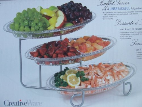 Cheap CreativeWare 3 Tier Buffet Server with 4 unbreakable Polycarbonate Platters (B0035TMTM0)