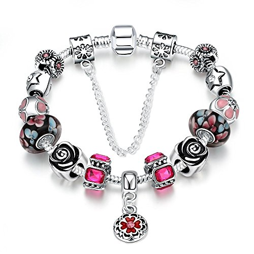 gorgeous-jewelry-silver-rose-flower-pattern-pink-diamond-accented-black-crystal-beaded-pendant-brace