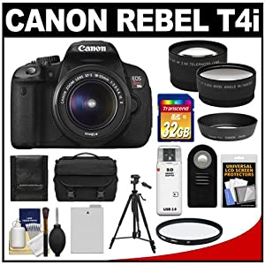 Canon EOS Rebel T4i Digital SLR Camera Body & EF-S 18-55mm IS II Lens with 32GB Card + Battery + Case + Tripod + Filter + Remote + Telephoto & Wide-Angle Lenses + Accessory Kit