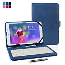 """buy Kamor® 7"""" Pu Leather Stand Case + Micro Usb Keyboard With Touch Screen Stylus Pen For 7 Inch Android Tablet Pc + Micro Female To Mini Male Adapter (Mystic Blue)"""