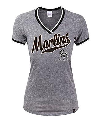 MLB Miami Marlins Tri-Blend Baby Raglan SS V-Neck Jersey