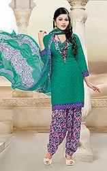 SareeShop Women's Georgette Semi-Stitched Dress Material (B2B1070_Green_Free Size)