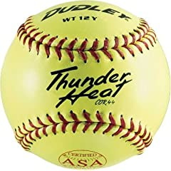 Dudley ASA Thunder Heat 12 (.44) Slow Pitch Softball - Composite Cover - Dozen by Dudley