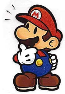 Paper Mario in Super Mario Bros hands on chin 'thinking' Heat Iron On Transfer for T-Shirt