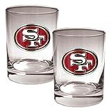 NFL San Francisco 49ers Two Piece Rocks Glass Set – Primary Logo