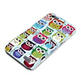 DeinPhone Small Coloured Owls Hardcase Cover Bumper for HTC One V - Blue