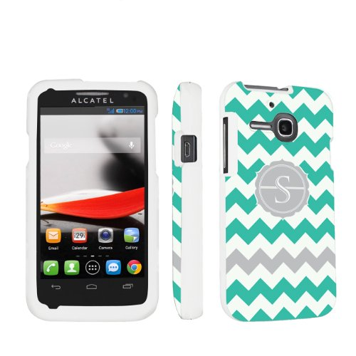 Skinguardz Designer White Hard Case For Alcatel One Touch Evolve 5020T - Mint Chevron Monogram Initial S front-297303