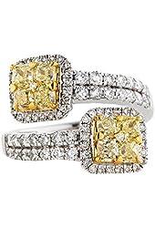 2.45ctw Yellow and White Diamond Bypass Ring