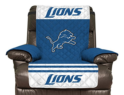 NFL Detroit Lions Recliner Reversible Furniture Protector with Elastic Straps, 80-inches by 65-inches at SteelerMania