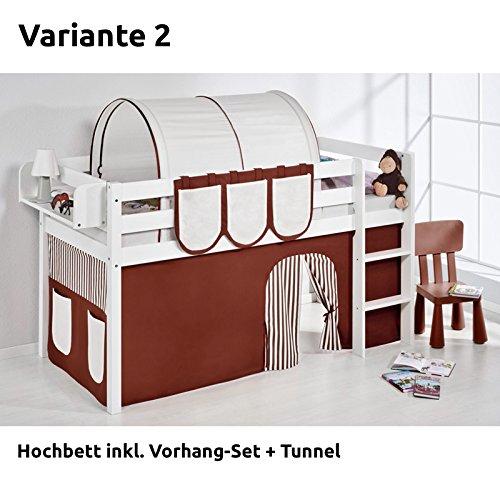 Hochbett Spielbett JELLE Braun Beige mit Vorhang, weiß, Variante 2