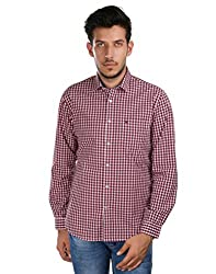 Oxemberg Men's Checkered Sports 100% Cotton Red Shirt