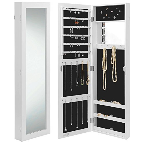 Beautify Mirrored Jewelry Armoire - Door / Wall Mounted Organizer Cabinet with Internal & External Mirror - White