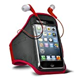 Fone-Case Samsung E2121B Adjustable Sports Fitness Jogging Arm Band Case & 3.5mm In Ear Earbud Base Earphones (Red)