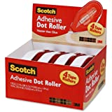 Scotch Adhesive Dot Roller Value Pack .31 Inches x 49 Feet, 4-Pack (6055BNS)