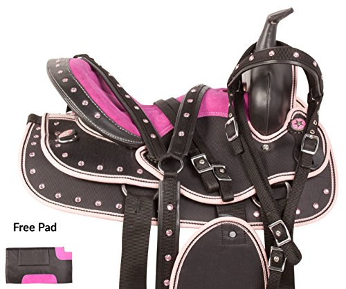14-15-pink-youth-adult-western-cordura-pleasure-trail-comfy-synthetic-horse-saddle-tack-set-bridle-h