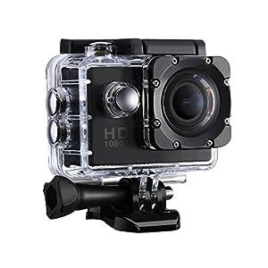 Patech スポーツカメラ 12MP 1080P@30fps 30m防水 170度広角レンズ 2インチ液晶画面 ハルメット式 バイクや自転車/カート/車に取り付け可能 複数のアクセサリー マリンスポーツ用(ブラック)