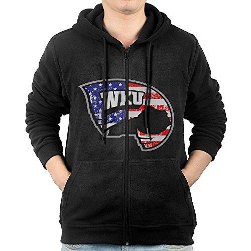 JLJK Men's Western Kentucky University Full Zip Hoodies Jackets Black Size XL
