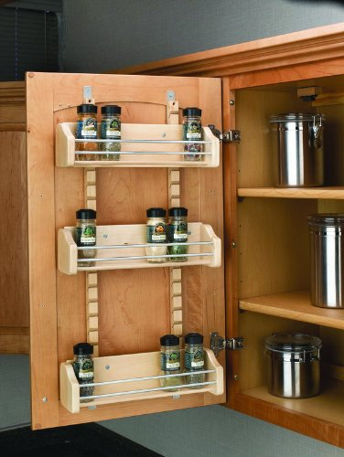 Rev-A-Shelf 4ASR-21 Adjustable Door Mount Spice Rack - Wood/Wire