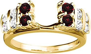 14k Gold Anniversary Ring Wrap Enhancer with Diamonds and Ruby 05 ct twt